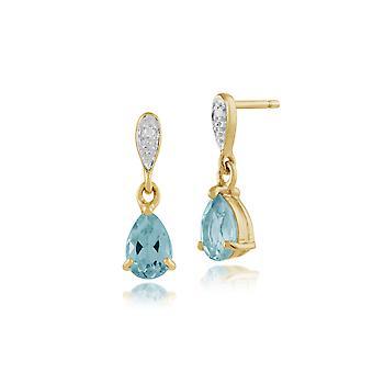 Classic Pear Blue Topaz & Diamond Drop Earrings in 9ct Yellow Gold 135E1060039