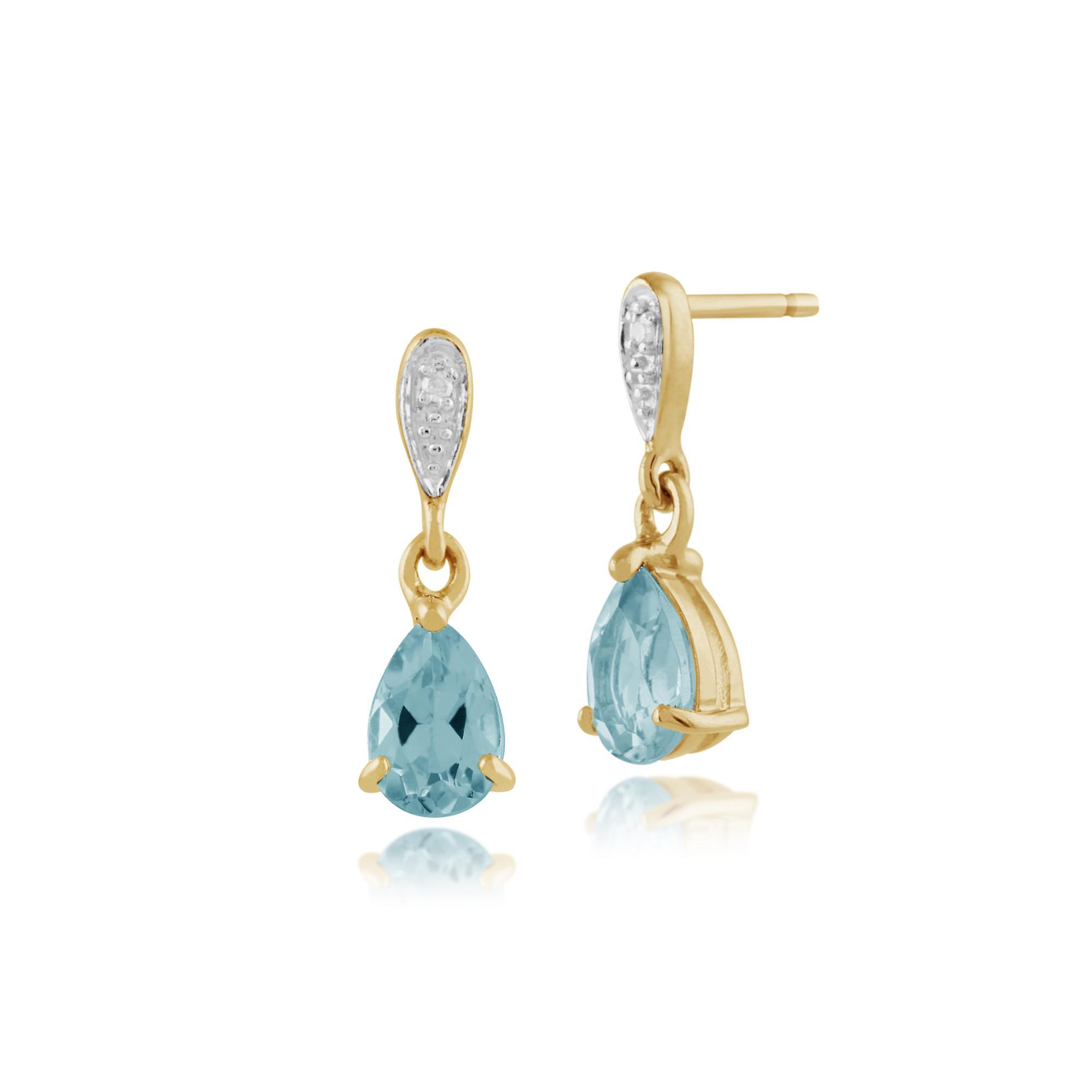 Gemondo 9ct Yellow Gold 1.04ct Blue Topaz & Diamond Drop Earrings
