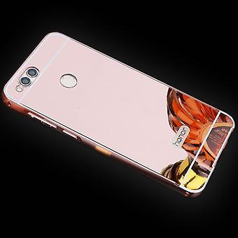 Spejl / spejl aluminium kofanger 2 stykker med cover Pink for Huawei honor 7 X tilfælde dække
