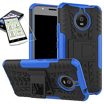 Hybrid case 2 piece blue for Motorola Moto E4 plus + tempered glass