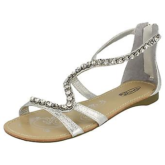 Ladies Spot On Flat Sandals with Back Zip and Jewelled Snake Strap