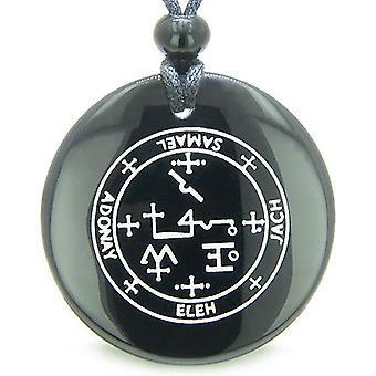 Sigil of the Archangel Samael Magical Amulet Black Onyx Magic Circle Spiritual Pendant Necklace
