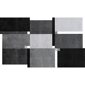 wassen + droge levende vierkanten zwarte wasbaar tapijt