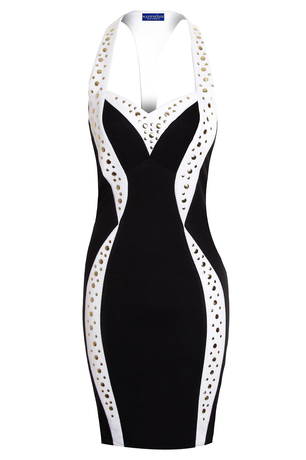 Ladies Celeb Black White Slim Effect Gold Studded Stretch Bodycon Women's Dress