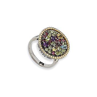 925 Sterling Hopea 14k 1.88tw Multi Gemstone Ring Korut Lahjat naisille - Rengas Koko: 6-8
