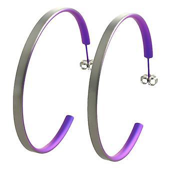 Ti2 Titanium Large Hoop Earrings - Imperial Purple