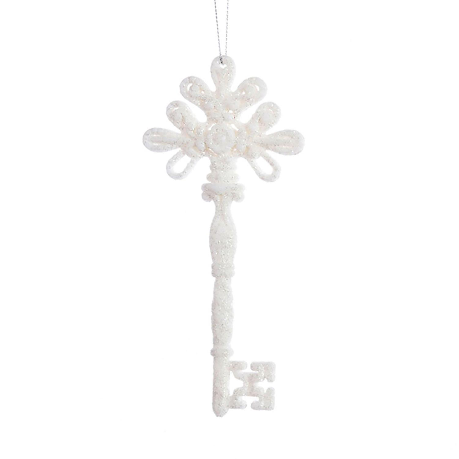 TRIXES Hanging Glitter Key Resin Christmas Decoration Gift Charm Colour White