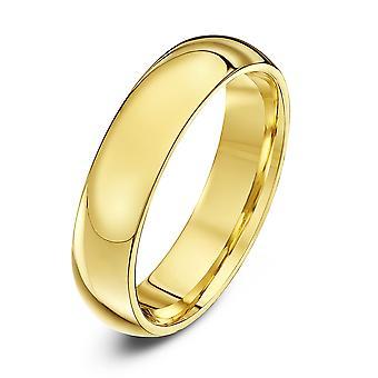 Anneaux de mariage Star 9ct jaune or Extra lourds Cour forme 5mm bague de mariage