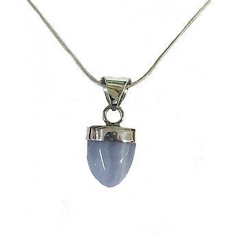 Cavendish Ranskan hopea ja sininen akaatti riipus hopea ketju