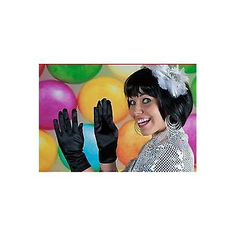 Guanti corti guanti in raso nero
