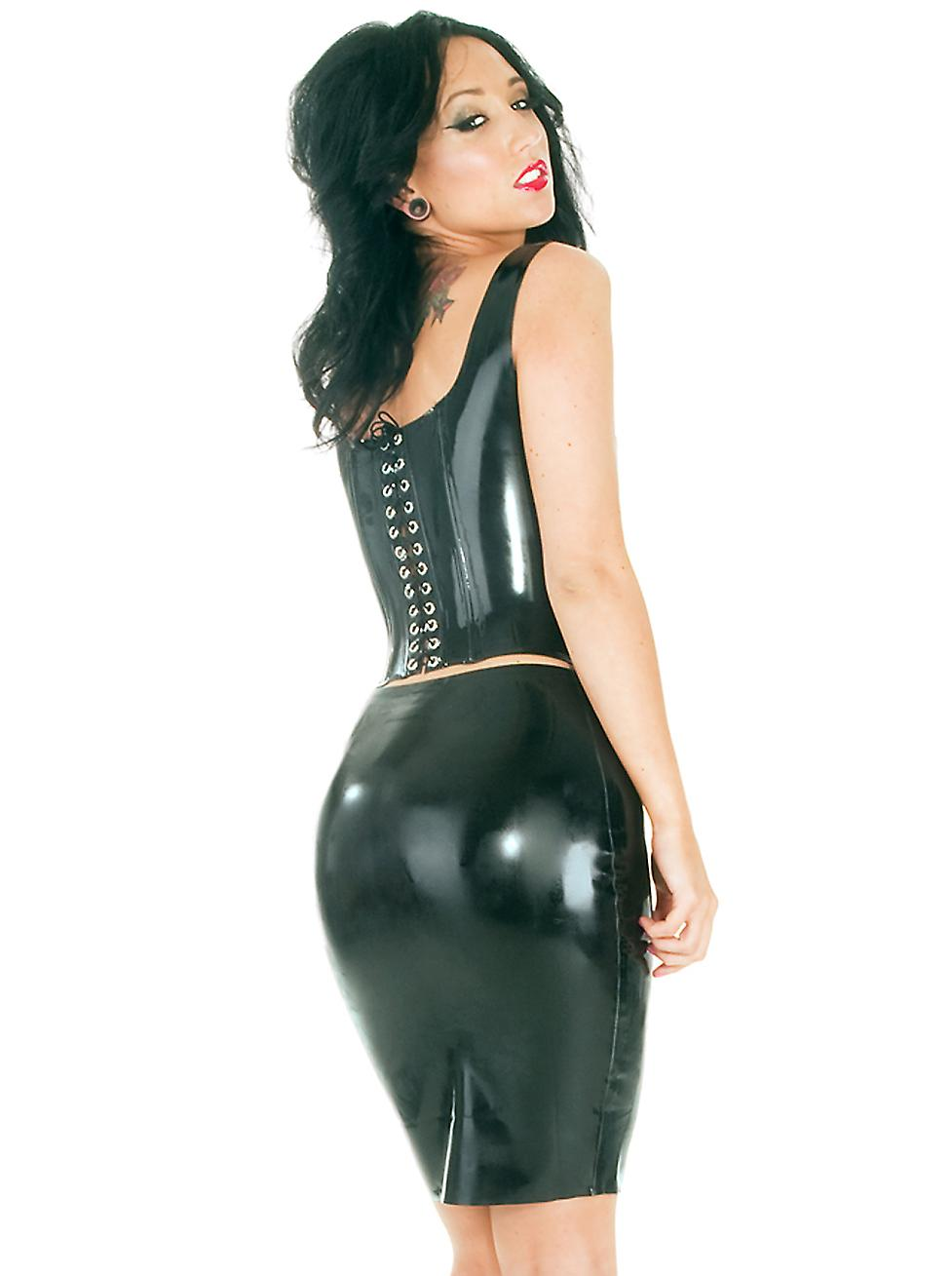 Honour Women's Sexy Corset Top in Black Rubber Tudor Style Push Up Front