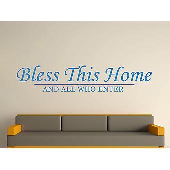 Bendiga esta casa pared arte adhesivo - azul olímpico
