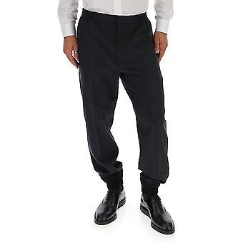 Alexander Mcqueen 516010qlu331073 Men's Calças de Lã Cinza