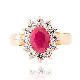 Ah! Jewellery Genuine Precious Ruby Stone Ring Gold Filled Stamped GL
