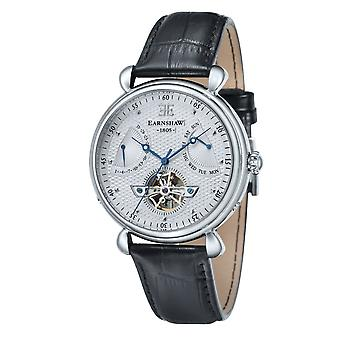 Thomas Earnshaw Es-8046-02 Grand Calendar Silver & Black Leather Automatic Men's Watch