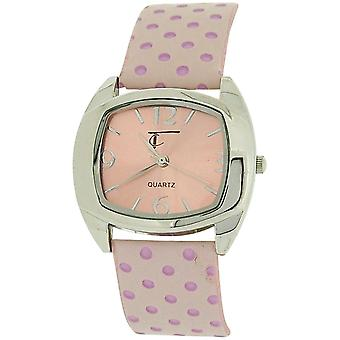 Thomas Calvi Ladies Analogue Pink Dial & Pink Spotted 3D Effect PU Strap Watch