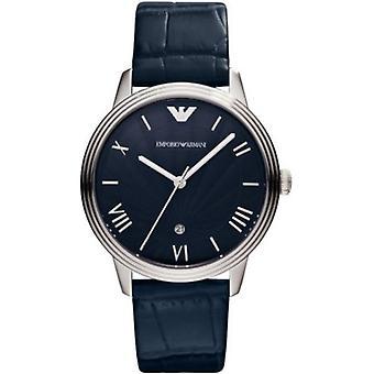 Emporio Armani Ar1651 Blue Dino Men ' s pulseira de couro Watch