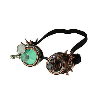Retro LED Light Up Steampunk Goggles with Green/Smoke Lens and Ocular Loupes