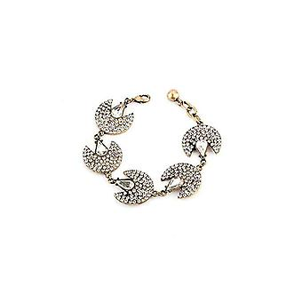 Adjustable Pave Rhinestone Starlight Fan Bangle Bracelet