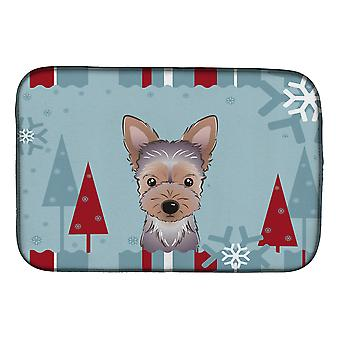 Carolines Treasures  BB1728DDM Winter Holiday Yorkie Puppy Dish Drying Mat