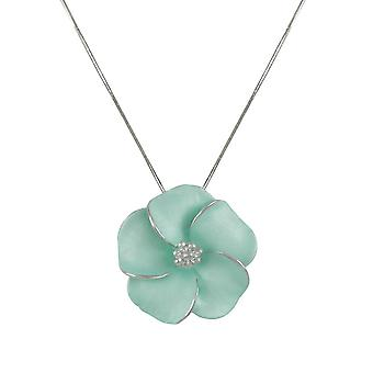 Eternal Collection Pansy Aqua Enamel Flower Silver Tone Pendant Necklace
