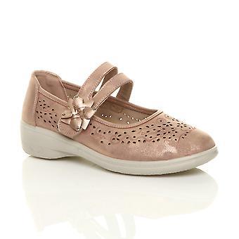 Ajvani Womens flach Grip Sohle gepolsterte gepolsterte Mary Jane Haken & Schleife Komfort Schuhe
