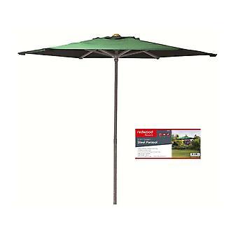 2.1 M grønne stål parasoll hage paraply