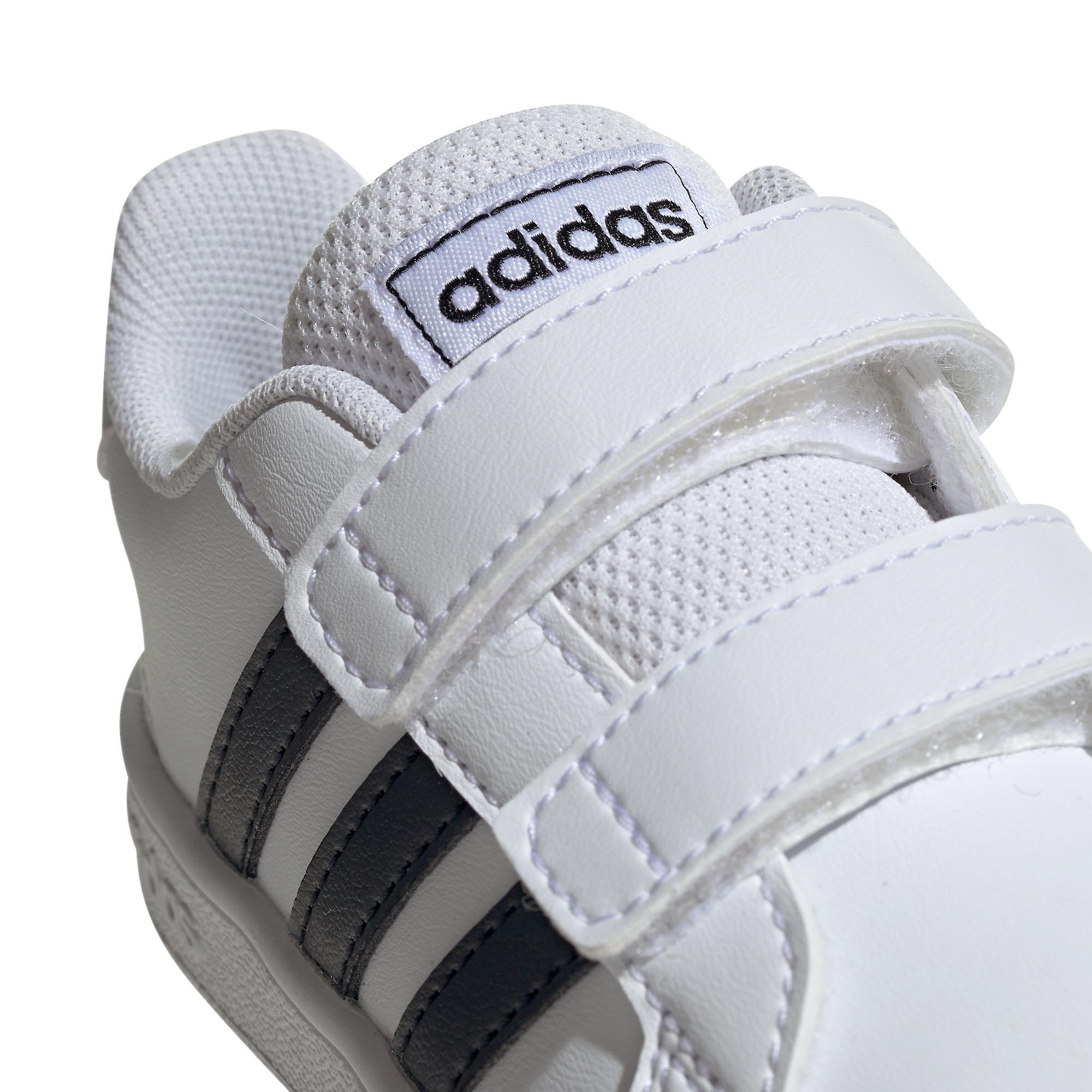 adidas Grand Court Infant Kids Sports Fashion Trainer Shoe White/Black