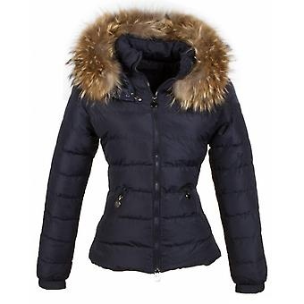 Fur coats - Winter coat Short - Fur collar - 2 Zippers - Blue