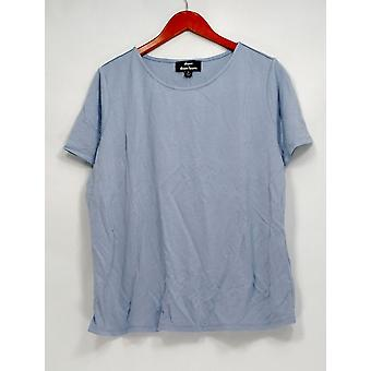 Dennis Basso Top Short Sleeve Stretch Knit Double Stitched Blue A298246