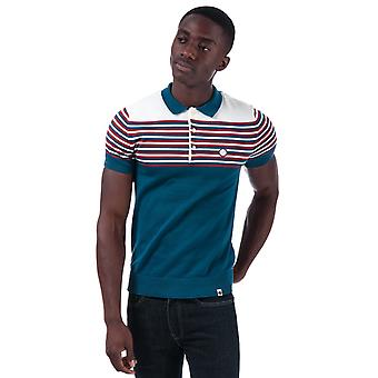 Mens Pretty Green Nile Stripe Knitted Polo Shirt in Blue
