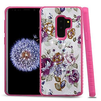 Violet/Hot Pink Diamante Hybrid Protector Cover for Galaxy S9 Plus