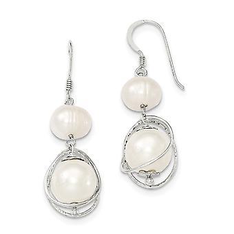 925 Sterling Silver Dangle Polished Shepherd crochet Blanc Freshwater Cultured Pearl Boucles d'oreilles Bijoux Bijoux pour les femmes