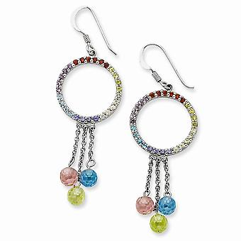 925 Sterling Silver Shepherd hook Rhodium plated Multi color CZ Cubic Zirconia Simulated Diamond Earrings Jewelry Gifts