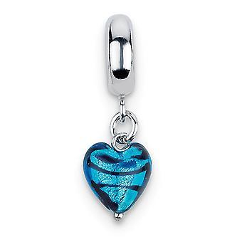 925 Sterling sølv polert italiensk Murano glass refleksjoner blå hjertet striper ital Murano Dingle perle Charm