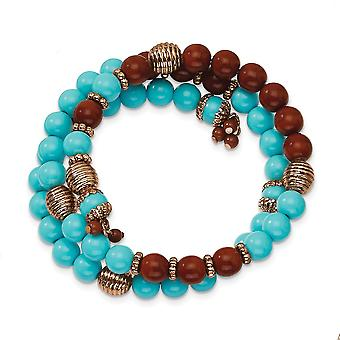 Copper tone Aqua and Brown Beads Wrap Bracelet Jewelry Gifts for Women - 25.7 Grams