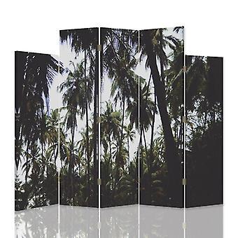 Divisor de habitación decorativa, 5 paneles, doble cara, 360o lienzo giratorio, palma 2