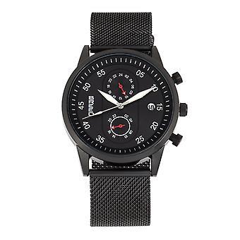 Breed Andreas Mesh-Bracelet Watch w/ Date - Black