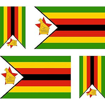 4 X Sticker Sticker Sticker Car Motorcycle Valise Pc Portable Flag Zimbabwe Zimbabwe