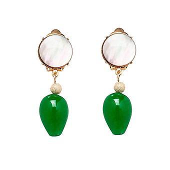 Gemshine korva korut korva leikkeet kulta kullattu äiti-helmi Jade harmaa vihreä TROPFEN