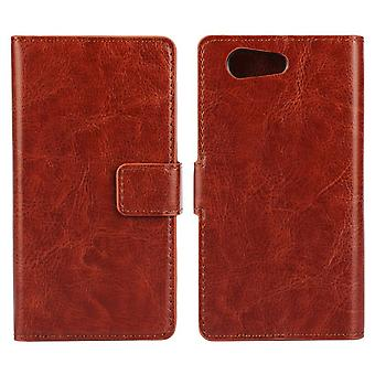 Xperia Z3 / Z4 mini compact wallet leather case brown