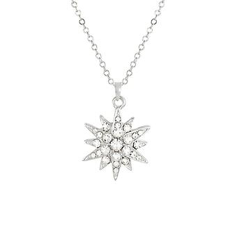 Eternal Collection Starburst Clear Crystal Silver Tone Pendant