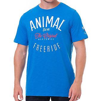 الحيوان لارف قصيرة الأكمام تي شيرت في الأزرق الساطع