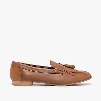 Comfort Plus Fringe Ladies Leather Loafers Tan