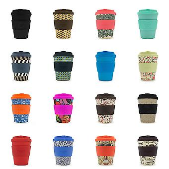 Ecoffee Eco-Friendly 12oz 340ml Reusable Natural Bamboo Fibre Tea & Coffee Cups With Silicone Lid Top For Travel & Home - Various Colours