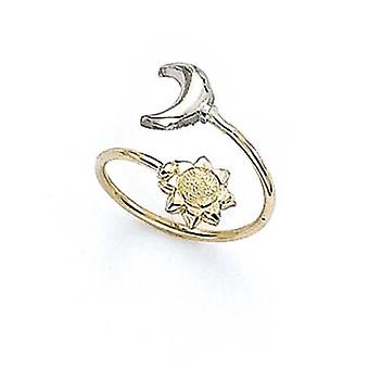 14k Two Tone Gold Moon Sun Toe Ring Jewelry Gifts for Women - .9 Grams