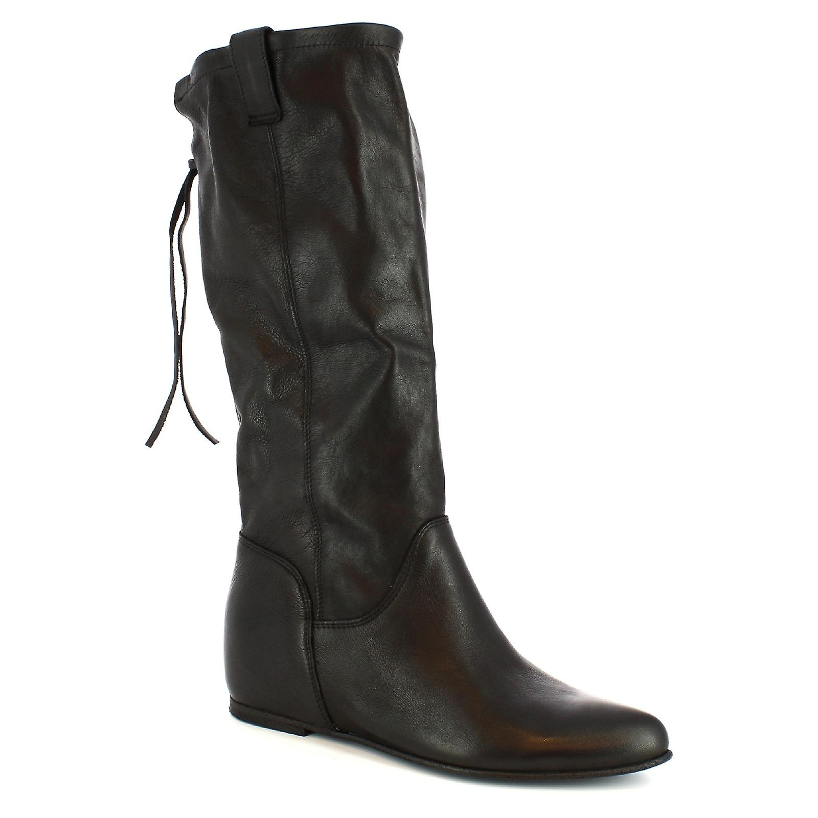 Leonardo Shoes Women's handmade boots inside platform in black calf leather HeqCN