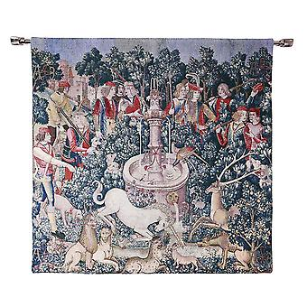 The hunt of the unicorn wall hanging by signare tapestry / 100cm x 100cm / wh-hu