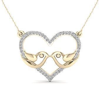 Igi certificado oro amarillo 10k 0.12ct tdw collar de pájaros de amor de diamantes