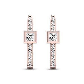 IGI-Certified-decouer-1/3-CT-TDW-Diamond-10k-Rose-Gold-Hoop-Earrings-(h-i,-i2)